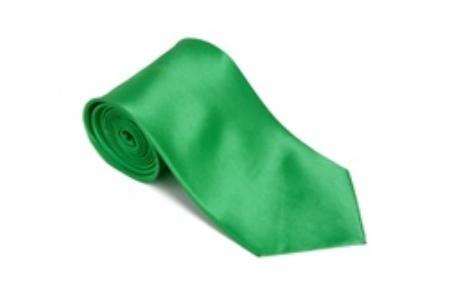 SKU#FD227 Brightgreen 100% Silk Solid Necktie With Handkerchief