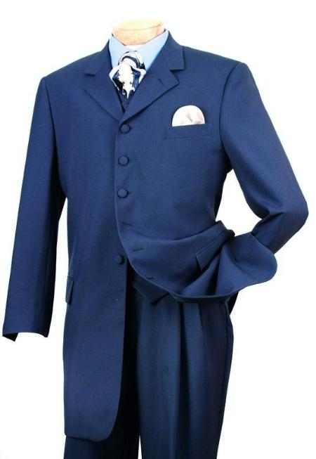 SKU#M154 Bright Teal Steel Blue(Light Blue) FASHION ZOOT SUIT LONG JACKET WITH COVERED BUTTON