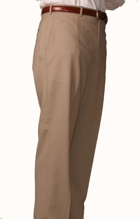 SKU#PZ0962 British Tan ~ Beige Bond Flat Front Trouser