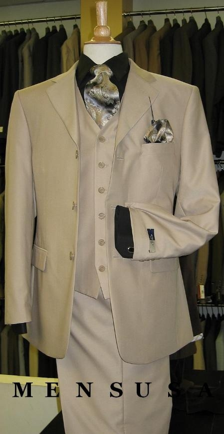 SKU#M300A British Tan ~ Beige Solid Three Piece Three Button three piece suit double vented