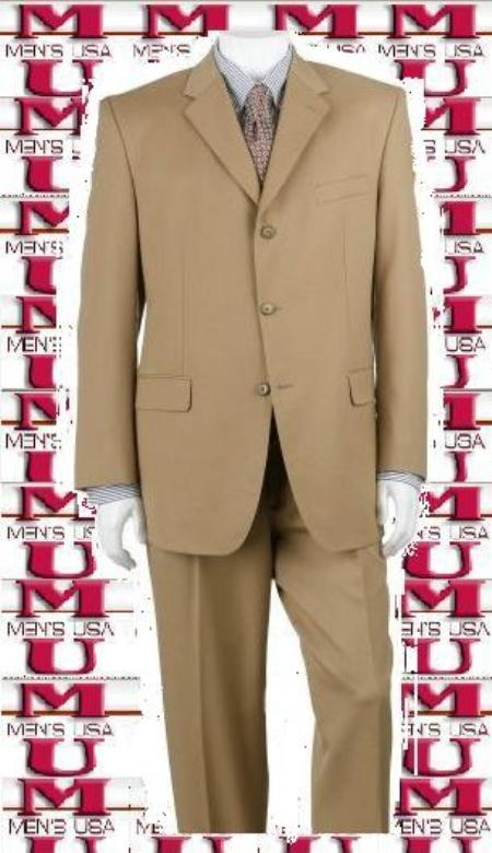 SKU# TK3 Bronz/Gold Close to Tan ~ Beige Shade Mens Suit Luxurious Business Super 140s 3 Buttons Suit