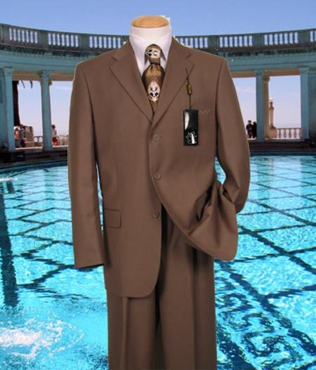 SKU#MD420 Bronze Solid Suit Hand Made With No Pleated Pants Super 150