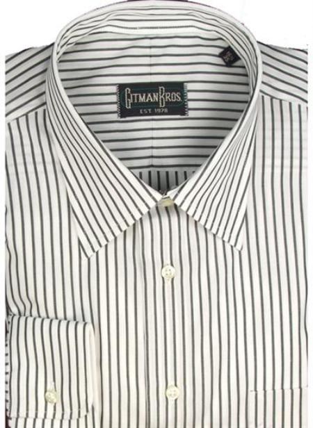Gitman Brothers Bankers Stripe Two Collar Styles black On Sale: $90