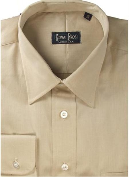 Gitman Brothers Fine Line Twill Modified Spread Collar tan On Sale: $94