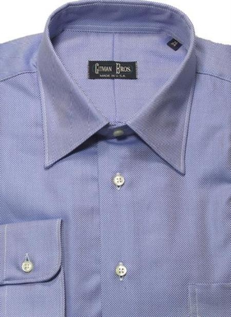 Gitman Brothers Raised Twill Modified Spread Collar Blue On Sale: $80