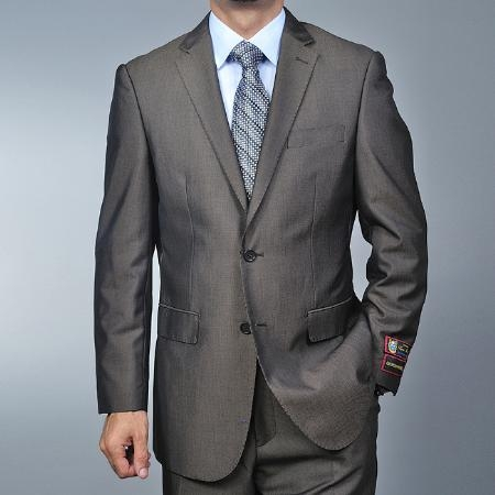 Mens Brown Teakweave 2-button Texture ~ Patterned Fabric Flat Front Pants Cheap Priced Business Suits Clearance Sale