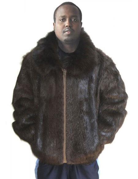 Mens Fur Natural Brown Genuine Beaver Fur Fox Collar Jacket