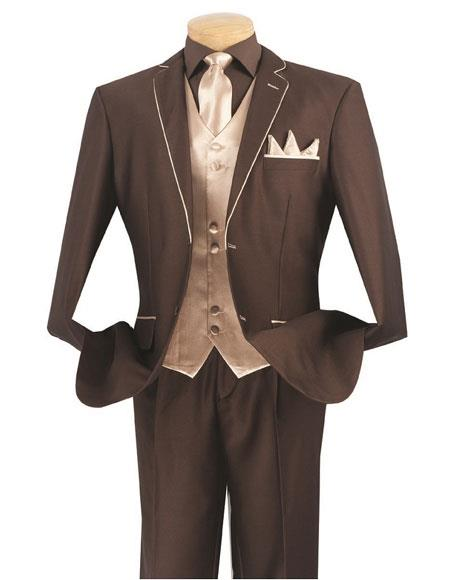 Men's Brown/Beige 5 Piece  2 Button Side Vents Suit