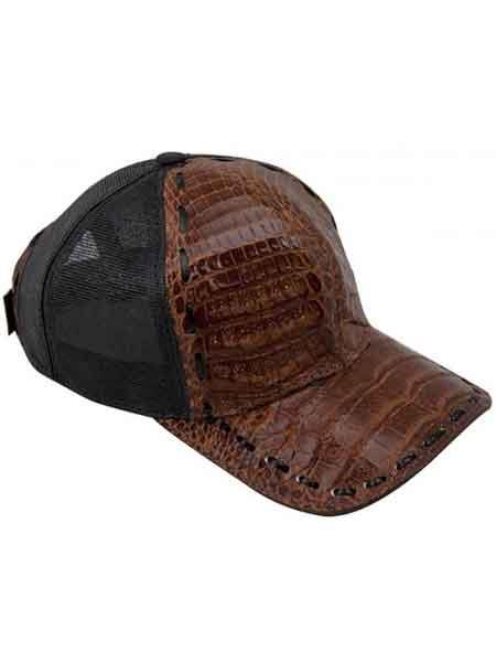 Genuine Ostrich World Best Alligator ~ Gator Skin Brown/Black CACHUCHA DE COCODRILO Exotic Skin Baseball Cap