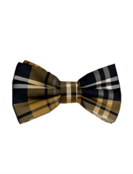 Men's Brown and Black Plaid Pattern Bowtie