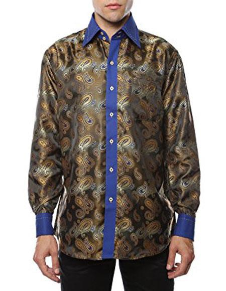 Mens Shiny Satin Floral Spread Collar Paisley Dress Club Clubbing Clubwear Shirts Flashy Stage Colored Two Toned  Woven Casual Brown-Blue