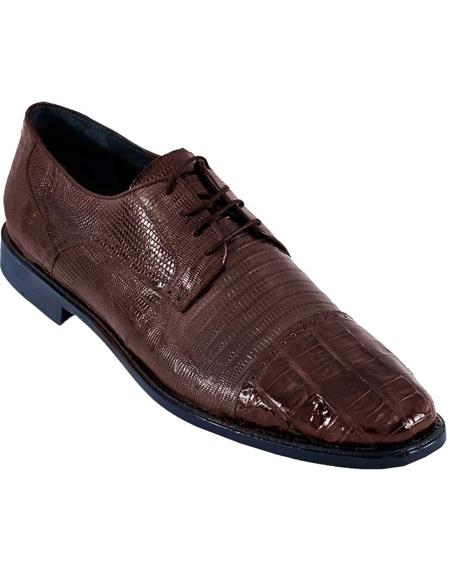 BROWN Genuine Caiman Crocodile With Lizard Dress Oxford Los Altos Shoes
