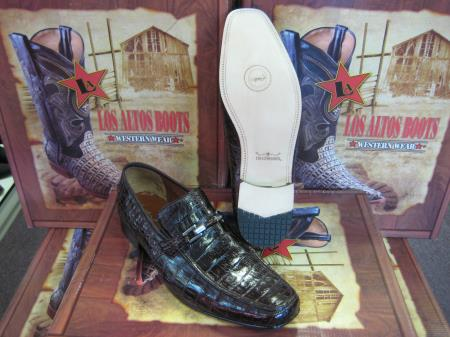 Mens Loafers Genuine Brown caiman ~ World Best Alligator ~ Gator Skin Crocodile ~World Best Alligator ~ Gator Skin Belly Dress Shoe