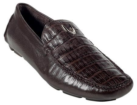 Mens Brown Genuine Caimen Belly Driver Vestigium Driving Shoes slip on loafers for men