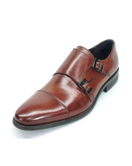 Mens Fashionable Carrucci Brown Calfskin Double Buckles Slip On Style Stylish Dress Loafer
