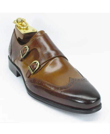 Men's Carrucci Brown/Cognac Fashion Double Buckle Style Two Toned Wingtoe Shoes