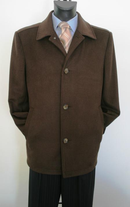 Men's Dress Coat  Brown 3/4 Designer Men's Wool Men's Peacoat Sale Valenti Designer Wool & Cashmere Style Men's Overcoat