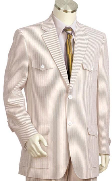 Safari Style Mens 2pc 100% Cotton seersucker ~ sear sucker ~ sear sucker ~ sear sucker Suits brownoffwhite Leisure Casual Suit For Sale