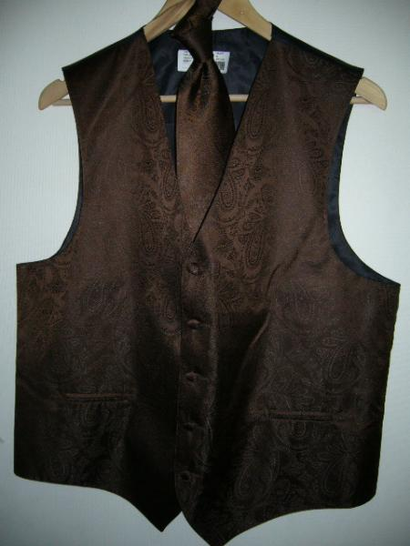 BROWN DRESS TUXEDO WEDDING VEST & TIE SET