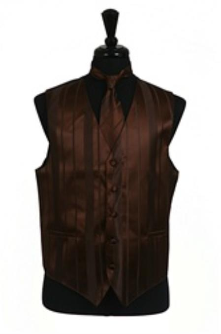 Dress Tuxedo Wedding Vest/Tie/Bowtie Sets (Brown Tone on Tone) Buy 10 of same color Tie For $25 Each