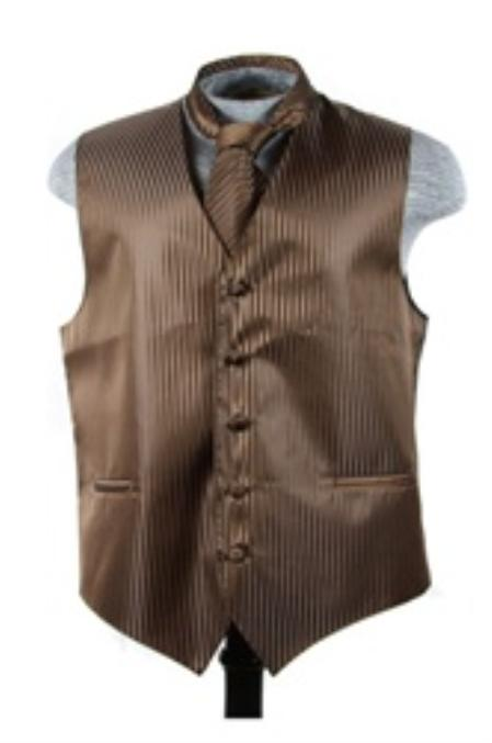 Dress Tuxedo Wedding Vest ~ Waistcoat ~ Waist coat Tie Set Brown Buy 10 of same color Tie For $25 Each