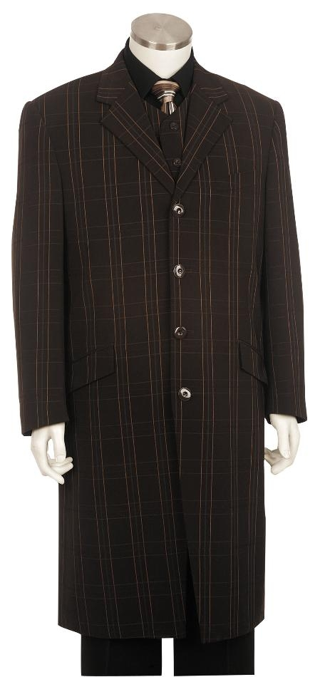 Mens Fashion Zoot Suit Dakr Brown Pinstripe ~ Stripe