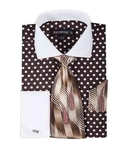 100% Cotton Brown Polka Dot Pattern Shirt With Tie And Hankie White Collar Two Toned Contrast Mens Dress Shirt