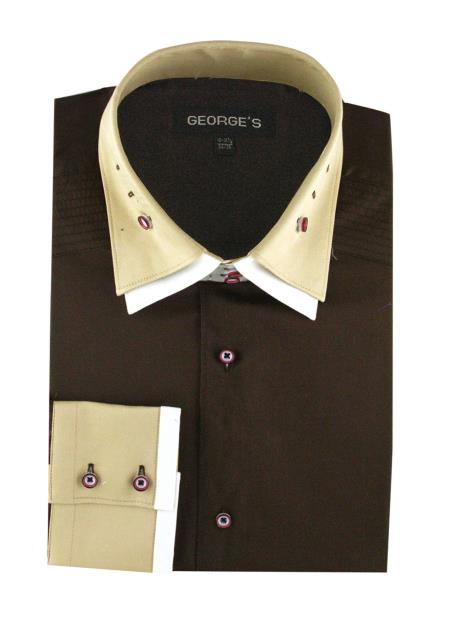 100% Cotton Solid Brown French Cuff Double Spread Collar Men's Dress Shirt