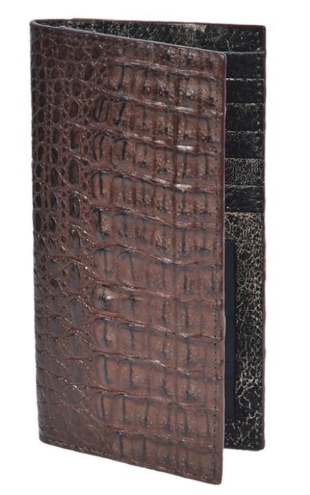 Mens Genuine Exotic Animal Skin Wallet ~ billetera ~ CARTERAS Brown / Cafe Genuine Crocodile Check Book Holder Wallet