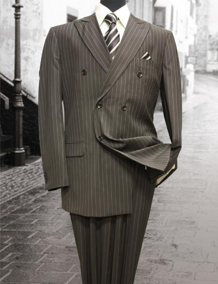 SKU#QV9001 Brown Double Breasted Mens Suit with Pinstripe
