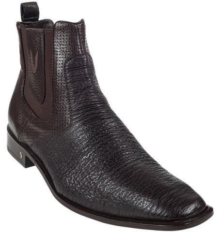 Mens Brown Genuine Shark Dressy Boot Ankle Dress Style For Man