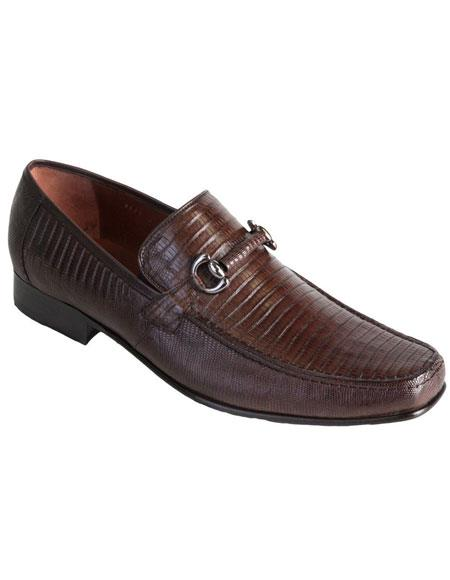 Brown Dress Shoe Mens Slip On Stylish Dress Loafer Style Genuine Lizard Los Altos Boots  Brown Dress Shoes
