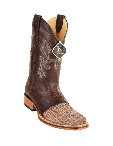 Mens King Exotic Cowboy Style By los altos botas For Sale Brown Square Toe Genuine Elephant Skin Boots Handcrafted