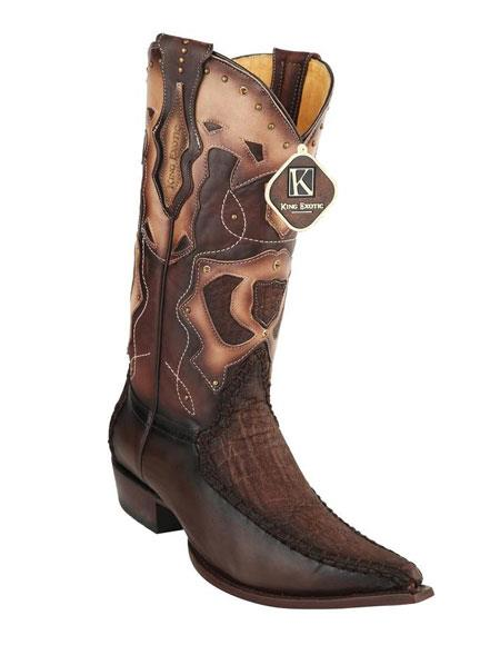 Mens King Exotic Cowboy Style By los altos botas For Sale Embroidered 3X Toe Brown Genuine Elephant Skin Boots