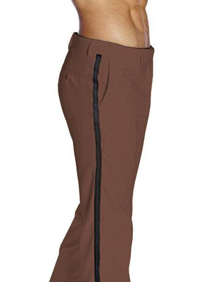 Mens Flat Front With Satin Band Brown Classic Fit Tuxedo Pant