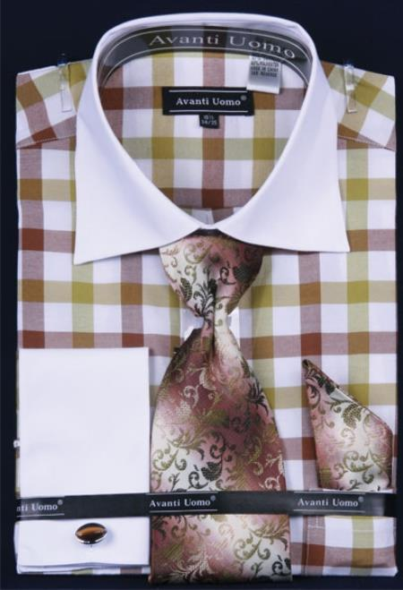 Buy QT372 Men's French Cuff Dress Shirt Set White Collar Two Toned Contrast Checker Pattern Brown Plaid ~ Windowpane