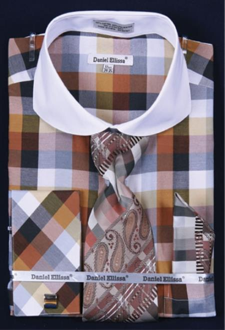 French Cuff Set White Collar Two Toned Contrast Bright Checker Brown Plaid ~ Windowpane Men's Dress Shirt
