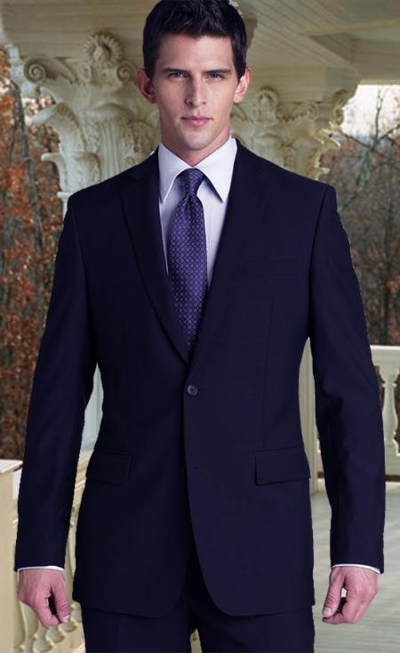 SKU#HX9019 R&H Flat Front No Pleated Pants 2 Button Style Navy Blue Suit With Flat Font No Pleated P $289