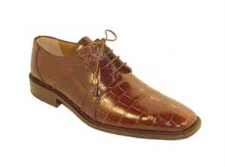 SKU#YF3628 Mens Full Genuine Leather Alligator Shoes Chocolate