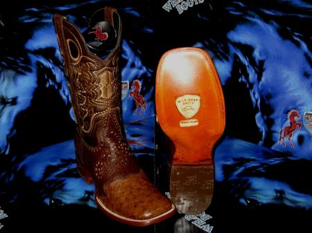 Buy J-48T Wild West Genuine Ostrich Square Brown Rodeo Western Cowboy Boot