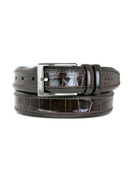 Mens Mezlan Brand Genuine Crocodile Brown Skin Belt