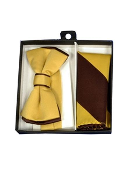 Mens Polyester Brown/Gold Satin dual colors classic Bowtie with hankie