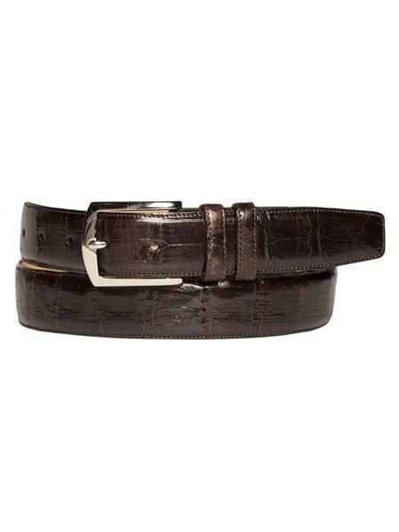 Mens Mezlan Brand Soft Nubuck Backing Genuine Crocodile Brown Skin Handmade Belt