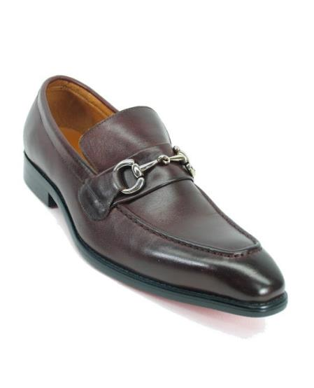 Mens Fashionable Carrucci Slip On Brown Leather Style Shoe With Silver Buckle