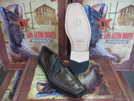 Mens Genuine Authentic Brown Teju Lizard Dress Shoe
