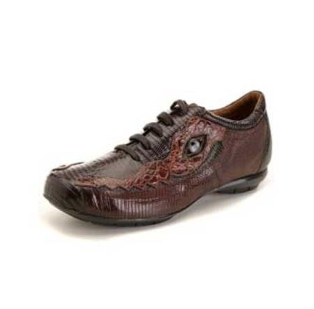 SKU#CH8022 High Top Exotic Skin Sneakers for Men Dark Brown/Brown Lizard & caiman ~ alligator Sneaker
