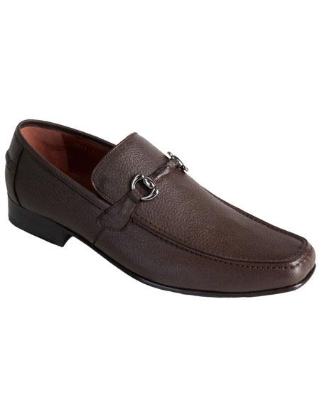 Men's Brown Genuine Full Deer Skin Los Altos Casual Slip On Stylish Dress Loafer Style Dress Shoes