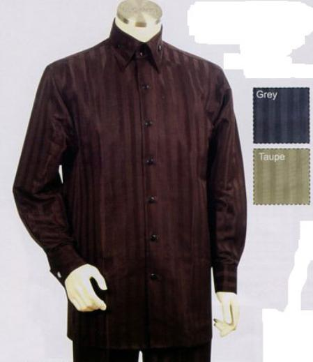 SKU#HS632 Mens Long Sleeve 2pc Set including Matching Wide Leg Dress Pants Brown Leisure Casual Suit For Sale