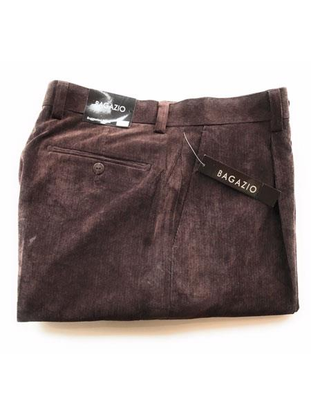 Buy SM3438 Bagazio Men's Mini Corduroy Single Pleated Pants Brown