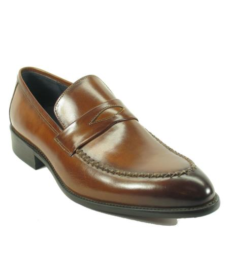 Carrucci Men's Brown Genuine Moccasin Leather Slip On Shoes